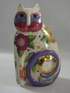 Signed LAUREL BURCH CAT CLOCK Rare Find 1996 Cat Gift Collectable SOLD