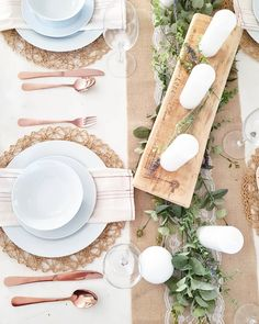 Burlap and lace runner, white crockery, coppery cutlery, Threads That Bind Us napkins, faux eucalyptus and white candles - I love this tablescape! -Sawdust and High Heels Lace Runner, Lace Table Runners, Copper Cutlery, Christmas Decorations, Table Decorations, Wedding Napkins, White Candles, Lace Weddings, Burlap