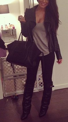 Winter/Fall Outfit: Leather jacket/gray tee/black skinnies/boots/Celine bag