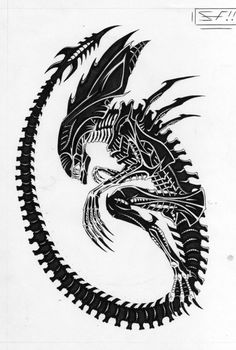 Xenomorph Tattoo xenomorph queen aliens and predators alien queen by . Alien Vs Predator, Les Aliens, Aliens Movie, Alien Tattoo Xenomorph, Tatuaje Cover Up, Herren Hand Tattoos, Giger Alien, Hr Giger, Xenomorph
