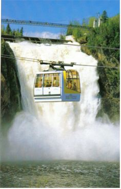 Cable car that takes you up to the top of the Montmorency Falls in Quebec.