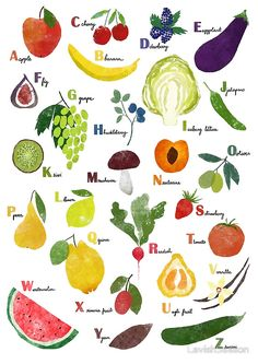 """English alphabet with fruit and vegetables"" Posters by LavishSeason 