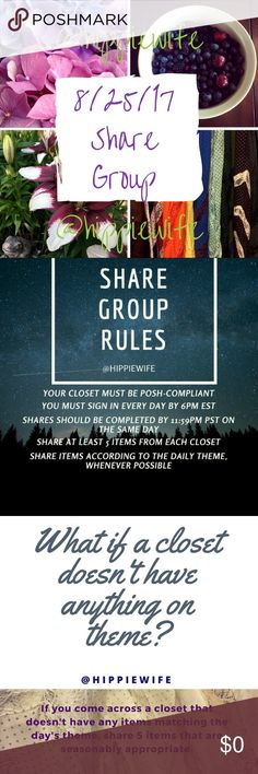 """8/25/17 Share Group """"Dresses"""" Signup Listing Today's Share Group theme is """"Dresses."""" Share 5 dress listings from each closet. Comment below with your closet name & the next number after the closet before you. Example: The closet before you was """"@hippiewife #1"""", so you would comment """"@yourclosetname #2"""", so on. Signup closes at 6pm EST. After that, I'll post a comment here that will show up in your news feed with the list of closets to share that day. Try to complete all shares by midnight…"""