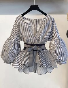 Lantern Sleeve Blouse Shirt Women 2018 Fashion Korean Style Summer Bow V-neck St - blouse summer blouse style blouse ideas Hijab Fashion, Fashion Dresses, Bow Tie Shirt, Simple Dresses, Casual Dresses, Simple Dress Pattern, Pattern Fashion, African Fashion, Blouse Designs