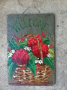 Burgundy Red Hydrangeas, Holly and Red Berries in a  BASKET  -Large Hand Painted Slate Plaque - Ready to Ship