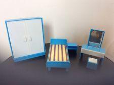 Vintage Dolls House Bedroom Furniture Plastic Blue/white