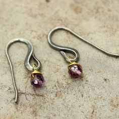 Amethyst faceted bead earrings with oxidized sterling silver hooks