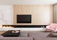 The design for this 107 sq m home in Moscow, Russia, was visualised by Design Rocks with functional minimalism in mind. Keeping only what was deemed to be usefu minimal Functional Minimalist Home With Brave Colours & Bespoke Installations Living Room Tv Unit, Living Room Interior, Home Living Room, Living Room Designs, Living Room Decor, Fireplace Tv Wall, Modern Fireplace, Fireplace Design, Fireplace Ideas