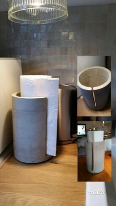 Küchenrollenhalter aus Beton... Gussform aus Versandrollen, Schlitz nachträglich gefräst, geölt. Cement Design, Cement Art, Concrete Crafts, Concrete Projects, Diy Furniture, Concrete Furniture, Diy Concrete, Towel Holder, Library Table