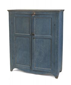 American country blue painted cupboard 47.5 high x 39.5 wide x 15 inches deep