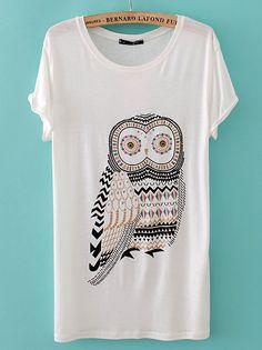 White Short Sleeve Rhinestone Owl T-Shirt