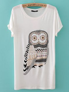 White Short Sleeve Rhinestone Owl T-Shirt
