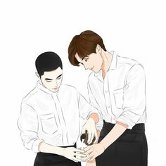 Kaisoo, Kyungsoo, Exo Couple, Couple Art, Exo Memes, Supernatural Pictures, Exo Fan Art, Art Friend, Kpop Fanart
