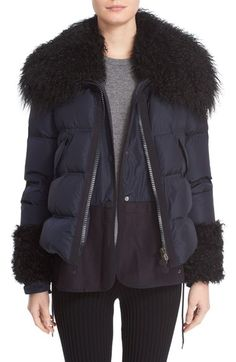 Moncler 'Amelie' Water-Resistant Down Coat with Genuine Mongolian & Genuine Kalgan Lamb Fur Trim available at #Nordstrom