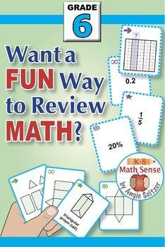 Grade 6 Math Games BUNDLE: Play Four Different Games with 16 Sets of 40 Cards. #grade6math #mathgames #middleschoolmath #median #mean #ratiogames #percentgames #surfacearea #k8mathsense