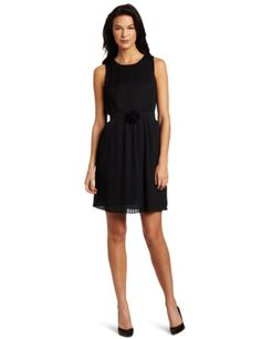 Anne Klein Women's Pleated Dress, Black, 2