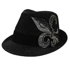 Katwalk Divaz Rhinestone Fleur De Lis Fedora Hat