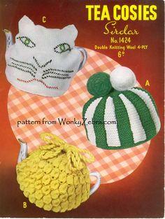 A knitting pattern for 3 retro 50s tea cosies from (Sirdar1424), PDF pattern WZ104 from WonkyZebra.com