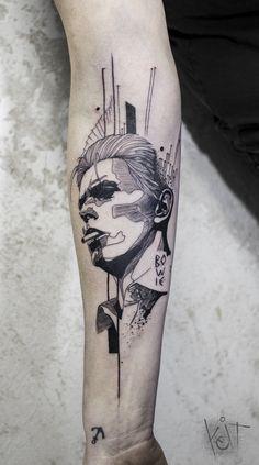 By Koit, Berlin. David Bowie portrait forearm black tattoo.   Graphic style tattoo   Inked arm   Tattoo ideas   KOit Tattoo   Tattoo artist   Germany tattoo artists   Heart tattoo   Face tattoo   Compass tattoo   tattoos for guys   Inspiration   Black tattoo   Graphic design   Illustration   Art   Body art   Tatouage   Tätowierung   Tatuaggio   Tatuaż   Tatuaje