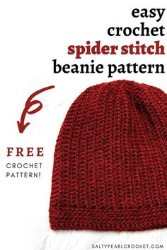 Learn the crochet spider stitch and make a gorgeous crochet slouchy hat with this easy crochet hat pattern free at Salty Pearl Crochet! The Indian Rocks Beanie. Easy Crochet Hat Patterns, Crochet Hat For Women, Crochet Beanie Pattern, Doll Patterns, Crochet Gratis, Free Crochet, Crochet Stitch, Crochet Dolls, Motifs Beanie
