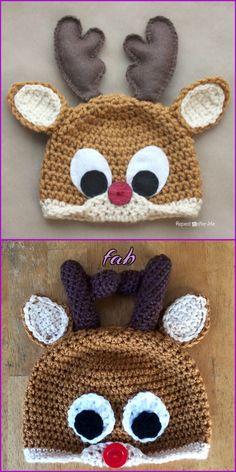 Crochet Reindeer Hat Free Patterns