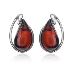 Amber Cherry Red Sterling Silver Small Square Stud Earrings AMfyt
