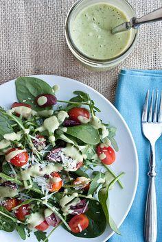 Arugula Salad with Creamy Avocado-Citrus Vinaigrette Dressing