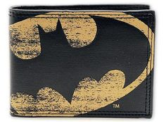 "Batman - Vintage Logo Synthetic Leather Wallet - Billfold (Bat Logo) (Size: 4.3"" x 3.5"") 