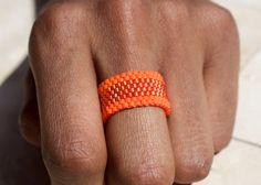 PEYOTE RING Beaded Ring Seed Bead Ring Southwest by PeyoteRings