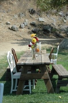 Picnic tables with mismatch chairs table ideas dining room Picnic Tables, Outdoor Tables, Outdoor Decor, Dining Room Table, A Table, Mismatched Chairs, Rustic Chair, Outdoor Living, Outdoor Furniture Sets