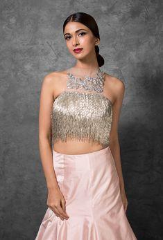 Silver Tasseled Crop Top with Rose Pink Flare Skirt - Pakistani Bridal Wear, Bridal Lehenga Choli, Saree, Choli Dress, Burgundy Skirt, Western Wedding Dresses, Indian Fashion Designers, Prom Dresses Blue, Celebrity Dresses