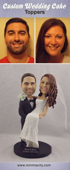 Custom Figurines From Your Photos! Funny Wedding Cake Toppers, Personalized Wedding Cake Toppers, Wedding Cake Stands, Custom Cake Toppers, Elegant Wedding Cakes, Casual Wedding, Wedding Cake Figurines, Wedding Reception Table Decorations, Wedding Trends