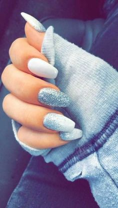 ▷ Over 1001 flawless ideas for a white manicure . - ▷ Over 1001 flawless ideas for a white manicure You are in the right p - Cute Acrylic Nails, Cute Nails, Pretty Nails, My Nails, Acrylic Gel, Silver Acrylic Nails, Shellac Nails, Gel Nail, Prom Nails