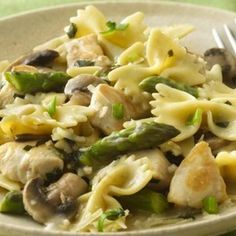 Bowties with Chicken and Asparagus Recipe | Just A Pinch Recipes