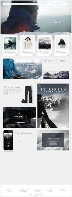 Web design / Schöffel Website & App by Mike John Otto Website Layout, Web Layout, Layout Design, Banner Design, Design Web, Page Design, Interface Web, Interface Design, Interaction Design