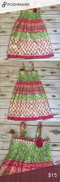 ⚡️Closing Sale ⚡️Girls Pink and Green Floral Dress NWT smocked bodic floral dress for girls. Pinky Dresses Casual