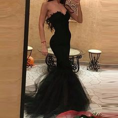 Sweetheart Mermaid Black Tulle Simple Prom Dress_Wholesale Wedding Dresses, Lace Prom Dresses, Long Formal Dresses, Affordable Prom Dresses - High Quality Wedding Dresses - Yesbabyonline.com