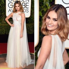 Lily James - Vestido Marchesa - Golden Globes Awards 2016
