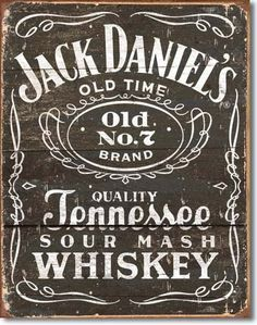 Jack Daniel's Woodcut Logo | Tin | Metal | Sign | Nostalgic | Vintage | Retro | Tennessee Sour Mash Whiskey | Old No. 7 Brand | Bar Sign | A Simpler Time