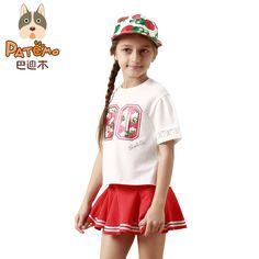 PATEMO Children Sets Summer White Short Sleeves T-shirt O-Neck Print and Red Mini Skirts Elastic Waist Girls Clothing Summer