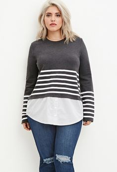Plus Size Layered Stripe Top