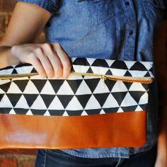 DIY Clutch: But make it taller and add a magnetic closure so it has a cuter fold over at the top.