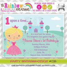 036 DIY Pretty Princess 8 Party Invitation Or by LilRbwKreations