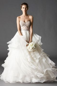 Beautiful ruffled ball gown wedding dress Watters, Fall 2015