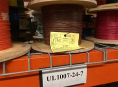 Photo of spooled UL1007-24-7 hook up wire.
