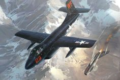 With a going down in flames, this Skyknight scores it's second kill in the Korean War - 1953 Military Jets, Military Aircraft, Military Weapons, War Thunder, Airplane Art, Navy Aircraft, Korean War, Aircraft Pictures, Nose Art