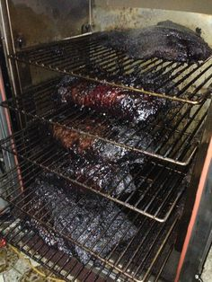 Smokin' a load of briskets. Cooked 12 hours at for great bark and beef like a tub of jelly in my gloves. If they weren't so hot, I'da ate them straight out the smoker. Bar B Que, Smoke Grill, Smoking Meat, Brisket, Grill Pan, Carne, Jelly, Grilling, Good Food