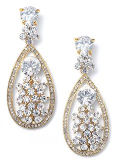 From the Mariell bridal and evening jewelry line comes this unique pair of tear drop shaped pierced earrings with a bridal waterfall center of cubic zirconia crystals. This pair of bridal earrings measures approximately 2.25 inches in length and are available in silvertone or golden setting.