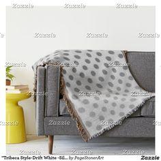 """Tribeca Style-Drift White -Silver Polka Dots* Throw Blanket"