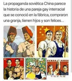 The Soviet-Chinese propaganda posters seem to be the story of a beautiful interracial gay couple who met in a metallurgical and got married and had beautiful children and a farm - iFunny :) Memes Humor, Funny Memes, Funniest Memes, 9gag Funny, Memes Historia, Chinese Propaganda Posters, Comics Illustration, History Memes, Funny History